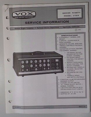 Original Vox Amplifier - Series Ninety V133  - Service Information