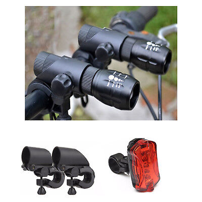 2 Cree Q5 LED Mountain Bike Bicycle Cycles Zoomable Front Lights + 5 LED Rear