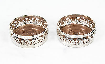 Superb Pair of Silver Plated English Wine Coasters