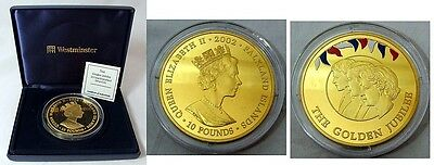Falkland Islands 2002 Silver Proof 5Oz £10 Golden Jubilee Coin - Mintage 950