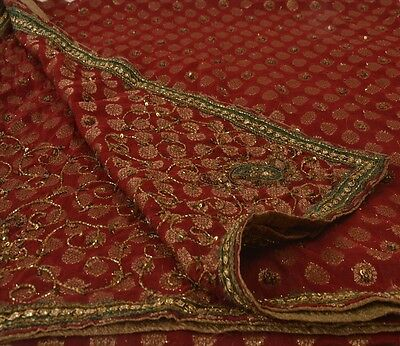 Vintage Dupatta Long Stole Cotton Maroon Scarves Hand Beaded Woven Hijab