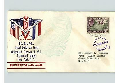 ROYAL DUTCH AIR LINES, Willemstad, CURACAO, Airmail, sent to Ozone Park, L.I., N