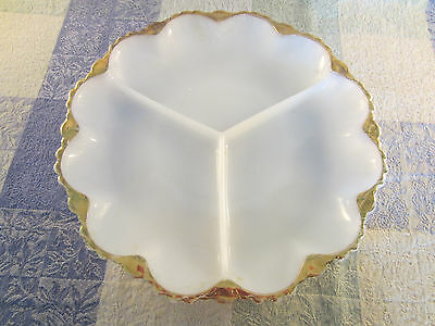 "Vintage Milk Glass Serving Dish W/Gold Edge 3 Sections 9 1/2"" Round"