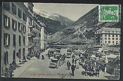 Switzerland Wallis 1909 Gletsch horse cards station picture postcard