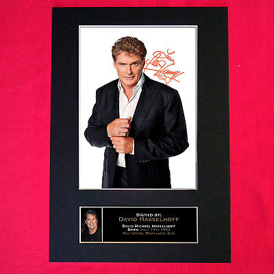 DAVID HASSELHOFF Autograph Mounted Signed Photo RE-PRINT Print A4 102