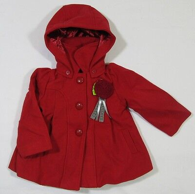 Children's Girls Red Button Up Coat Hooded Hood Jacket Winter Warm Lined 6-24M