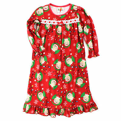 Elf on the Shelf Christmas Toddler Red Flannel Nightgown 2T