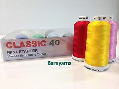 Madeira Rayon Classic 40 - 10 Colour Mini Starter Kit Machine Embroidery Thread