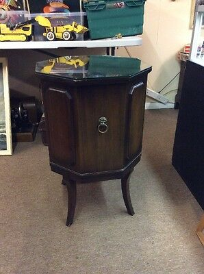 Vintage Octagonal Dark Wood Drinks Cabinet