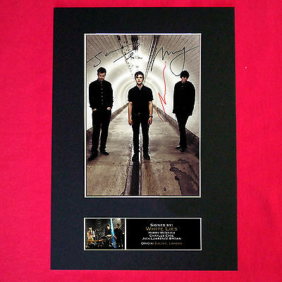 WHITE LIES Mounted Signed Photo Reproduction Autograph Print A4 114