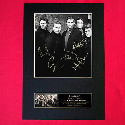 TAKE THAT WITH ROBBIE Mounted Signed Photo Reproduction Autograph Print A4 117