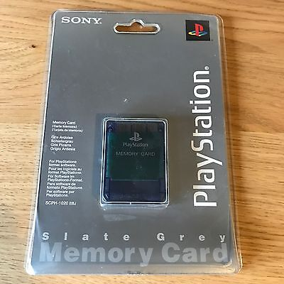 Official PS1 PlayStation Memory Card Slate Grey NEW Sealed - FAST POST