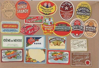 COLLECTION 20 OLD ENGLISH SOFT DRINK or POP LABELS new selection Pack #1