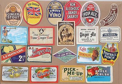 COLLECTION 20 OLD ENGLISH SOFT DRINK or POP LABELS new selection Pack #2