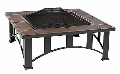 """34"""" Square Tuscan Tile Top Mission Style Fire Pit"""