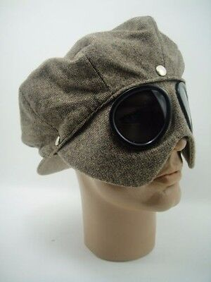 NEW CAP + GOGGLES RIDER Car Motorcycle Aviator Driving RACER Vintage JAY LENO