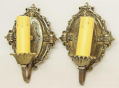 Turn Of The Century Cast Gold Brass Candle Sconces
