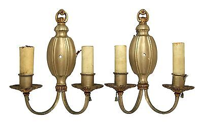 Pair of Silver Plated Metal Wall Sconces