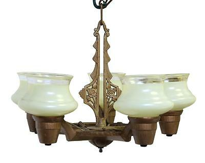 Iron Eastlake Chandelier with Glass Shades