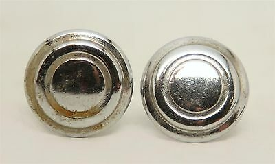 Pair of Art Deco Chrome Finished Knob Pulls