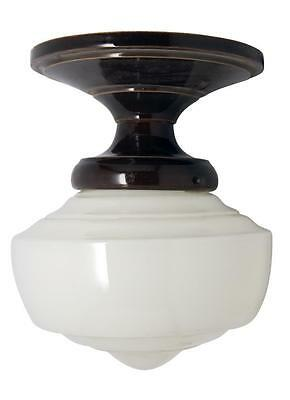 White Milk Glass Light Fixture with Ceramic Fitter