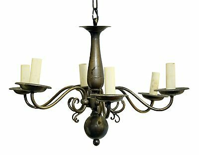 Six Arm Colonial Chandelier With a Silver Pewter Finish
