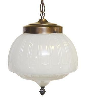 White Milk Glass Globe Pendant Light with Decorative Finial