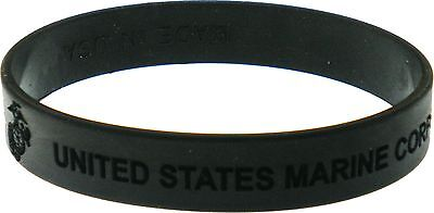 United States Marine Corps Debossed Silicone Rubber Wristband [2-Pack - Black...