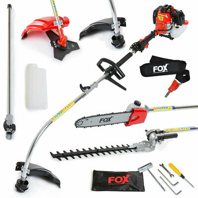Fox Wolf Petrol 52cc Multi Function Garden Hedge Trimmer Chainsaw Brush Cutter