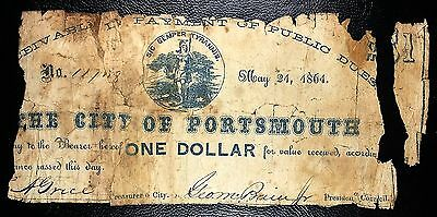 US CONFEDERATE CIVIL WAR CURRENCY: May 21 1861 Portsmouth $1 Note | COMBINED S/H