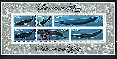 SWA SOUTH WEST AFRICA 1980 BLUE WHALE FIN octopus HUMPBACK MINISHEET  MNH