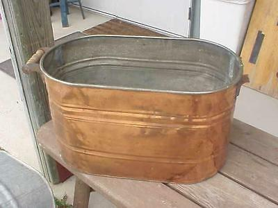 SHINY & DENTS Old Copper Laundry Tub Wash Boiler for Garden Planter Flower Pot