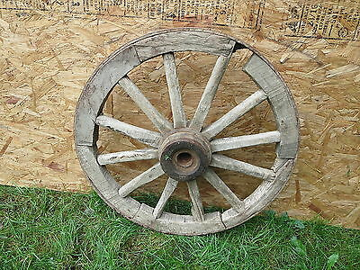 Antique Primitive Architectural Wooden Spoke wagon wheel goat Horse cart D