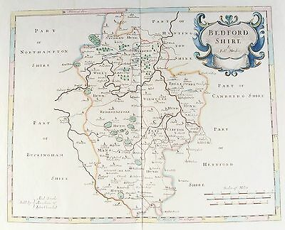 OLD ANTIQUE MAP BEDFORDSHIRE c1720's by ROBERT MORDEN 18th CENTURY ENGRAVING