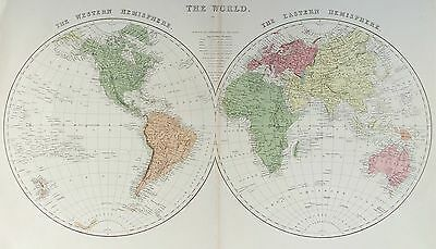 OLD ANTIQUE MAP WORLD TWIN HEMISPHERES c1880's PRINTED COLOUR