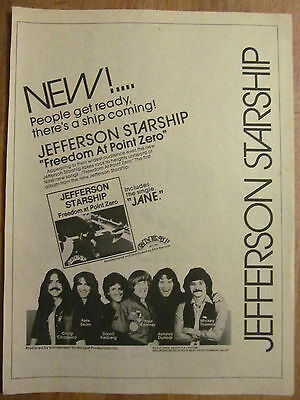 Jefferson Starship, Freedom at Point Zero, Full Page Vintage Promotional Ad