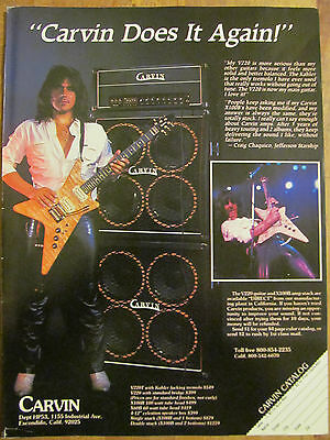 Jefferson Starship, Craig Chaquico, Carvin Amps Full Page Vintage Promotional Ad
