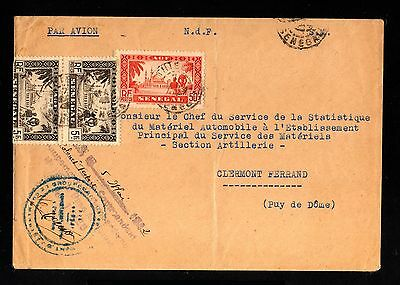 13826-SENEGAL-MILITARY AIRMAIL COVER to CLERMONT (france)1942.WWII.FRENCH Coloni