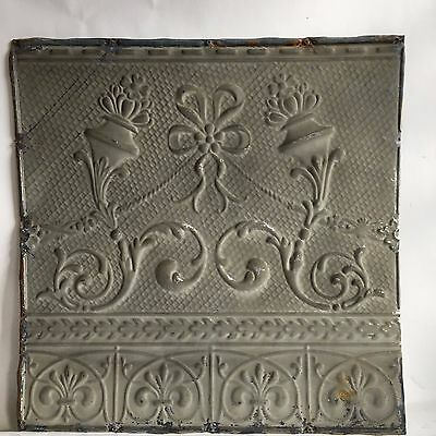 """1890's 24"""" x 24"""" Antique Reclaimed Tin Ceiling Tile Gray Taupe C65 Anniversary"""
