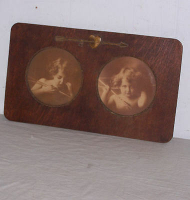 Antique Oval Picture Frame Curved Glass with Man Portrait Print