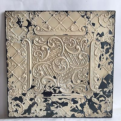 1890's  23 x 23 Antique Tin Ceiling Tile Malt Brown Wrapped Wall Art Reclaimed G