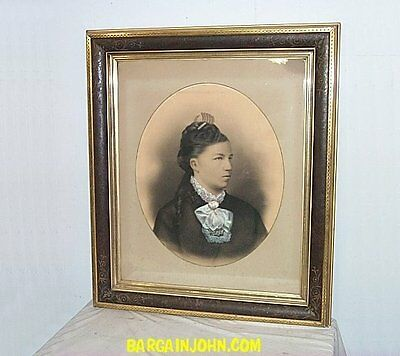Extra Large Antique Victorian Woman Portrait and Frame