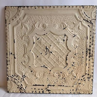 1890's  22.5 x 22.5 Antique Tin Ceiling Tile Malt Brown Wrapped Wall Art  G