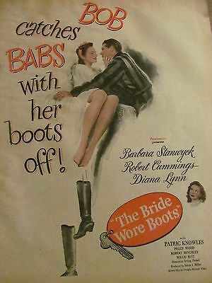 The Bride Wore Boots, Barbara Stanwyck, Full Page Vintage Promotional Ad