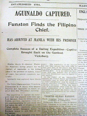 3 1901 newspapers PHILIPPINE INSURRECTION - US Captures Rebel Leader AGUINALDO