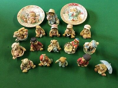 16 Cherished Teddies and 2 plate collection
