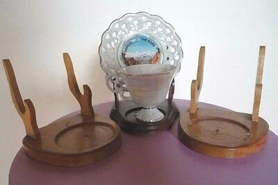 Three Wood Cup & Saucer Display Holders (cup & saucer for display -not included)