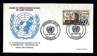 13338-COTE D´IVOIRE-FIRST DAY COVER ABIDJAN.1962.FRENCH Colonies.ONU.Premier jou