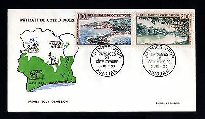 13343-COTE D´IVOIRE-FIRST DAY COVER ABIDJAN.1963.FRENCH Colonies.Paysages.