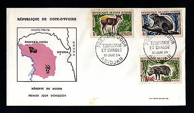 13348-COTE D´IVOIRE-FIRST DAY COVER ABIDJAN.1964.FRENCH Colonies.Reserve ANIMALS